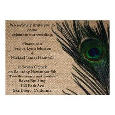 Use these elegant peafowl wedding invitations with burlap to invite your friends… Wedding Cards, Wedding Stuff, Our Wedding, Dream Wedding, Wedding Ideas, Peacock Bird, Peacock Theme, Peacock Wedding Invitations, Custom Invitations
