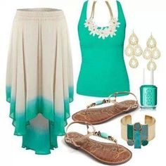 Spring/summer ivory and mint. Flower child style cute cuff flowing skirt daisy tank top. Droop ear rings beaded sandles
