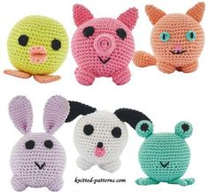 Amigurumi animals pattern free multi duck, pig, cat, frog, bunny puppy dog,