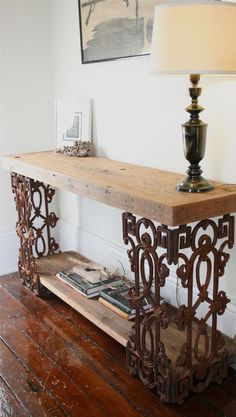 Beautiful Piety Table Sofa Table Or Writing Desk Made From Reclaimed Wood And Wrought  Iron Rustic Desks And Hutches