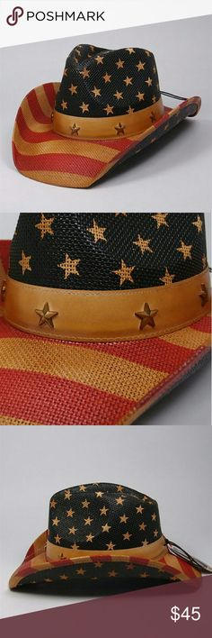 COMING SOON!! American Cowgirl Hat. Awesome vintage look flag cowboy hat. Show your pride. Perfect for July 4th or concerts. Accessories Hats