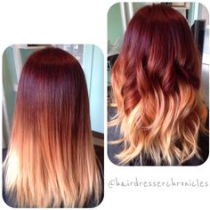 33 trendy ombre hair color ideas of 2019 - Hairstyles Trends Red Balayage Hair, Red Ombre Hair, Brown Blonde Hair, Blonde Brunette, Blonde Honey, Red To Blonde, Pink Hair, Hair Color Dark, Cool Hair Color