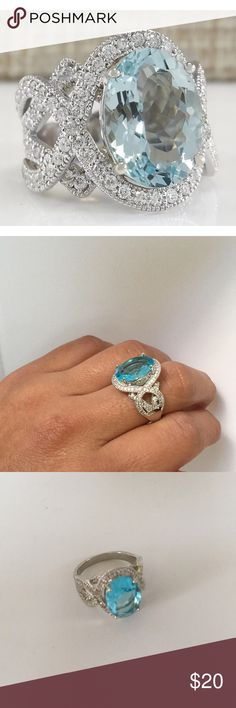 .925 silver aquamarine ring size 8 New New! Beautiful.925 silver aquamarine ring size 8 Jewelry Rings