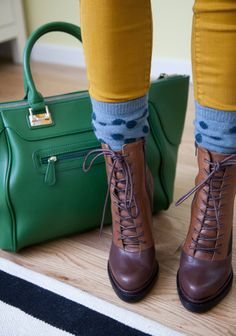 mustard yellow pants, green purse, baby blue polka dot socks, and camel colored boots ~~ Love this combination!!!