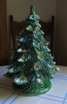 Vintage Tabletop Ceramic Flocked Large Electric Christmas Tree