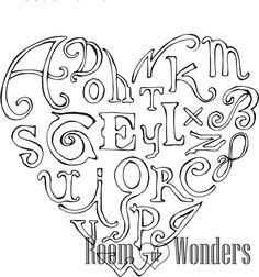Lettere d'amore  disegno da colorare di Roomofwonders su Etsy