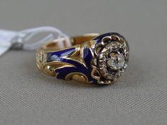 Антиквариат. Кольцо, золото 56 пробы, бриллиант. эмаль