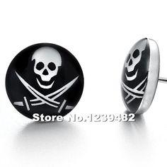 Wholesale 100pcs/lot stainless steel Skull Biker ear stud earrrings body jewelry 10mm disc 1.2mm bar SE0054