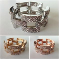 J Crew Inspired Pave Link Bracelet in Gold, Rose Gold, and Silver $14.99 #pinkEbling