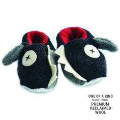 Handmade Soft Sharks Baby Slippers Reclaimed Wool Eco-Friendly Fleece