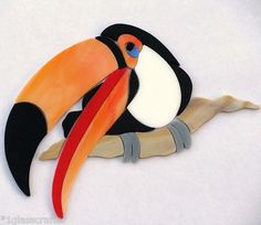 Toucan bird stained glass precut kit. Great for mosaic  projects. Selling on eBay or contact me directly rachellkratzer@aol.com