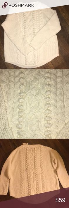 Talbots beige sweater new Talbots new beige sweater. Long sleeve decorative dots in front and back. Rounded bottom of sweater. Talbots Sweaters