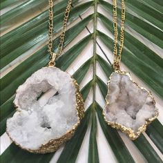 Handmade Druzy Stone Necklaces These gorgeous pieces are handmade by a local New Orleans designer! photo shows the type of pieces that are in stock! Let me know which piece you'd like!  DeuxLuxe  Jewelry Necklaces