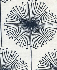Dandelion Puff Linen Fabric Oyster printed linen with dandelions in indigo.