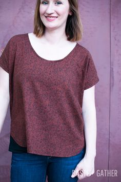 lou box top by baste and gather, curved hem and scoop neck, size small