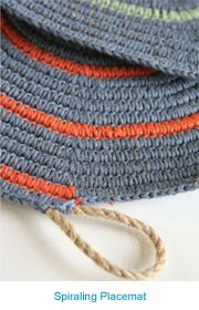 The advantage of crocheting over rope is that it allows you to make crocheted items with substance, form, and weight,' says designer Lena Maikon. 'You can crochet a sturdy carpet that is heavy and stays in one place. - (leisure arts) forgot about this t. Crochet Home, Knit Or Crochet, Learn To Crochet, Crochet Crafts, Yarn Crafts, Crochet Stitches, Crochet Projects, Crochet Rugs, Tapetes Diy