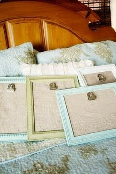 great way to display kids' artwork! Painted frames, burlap and a clip.