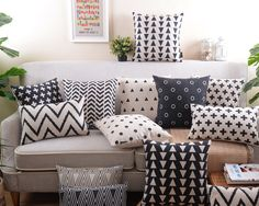 Nordic Style Cushion Cover Decorative Pillows Case Gray Cushion Cover Home Decor Geometric black and white pillow cover Price history. Category: Home & Garden. Subcategory: Home Textile. Couch Cushions, White Cushions, Sofa Chair, Sofa Bed, Black And White Pillows, White Throw Pillows, Black White, Decorative Pillow Cases, Decorating Bedrooms