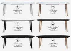 6 flotte varianter at vælge imellem for vores Nordic Round spisebord - med udtræk. Se mere på: https://www.ksign.dk/moebler/rundt-spisebord-med-udtraek/