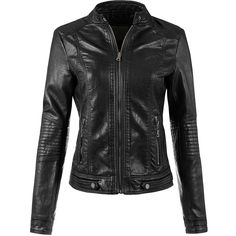 BEKTOME Womens Faux Leather Moto Bomber Biker Jacket (120 BRL) ❤ liked on Polyvore featuring outerwear, jackets, bomber style jacket, faux-leather moto jackets, motorcycle bomber jacket, fake leather jacket and vegan motorcycle jacket