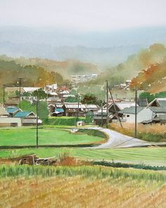 Country Road F6 Watercolor   田舎の道 水彩   by Masato Watanabe