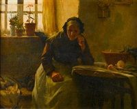 Alone - The widow by Walter Langley