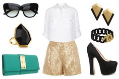 #fashion - Sequin Shorts on a #Budget - WAREHOUSE shorts $31 / VILA shirt $31 / VINCE CAMUTO clutch $148 / DOLCE VITA heels $129 / T TAHARI ring $40 / PIECES earrings $20 / MARC BY MARC JACOBS bracelet $88 / EBAY sunglasses $10