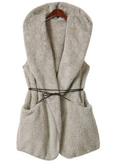 Luxury Sleeveless Hooded Collar Woman Waistcoat Light Grey