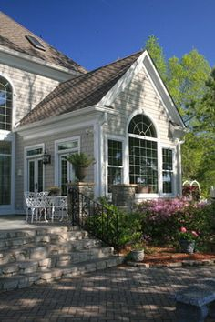 Grey Exterior Design Ideas, Pictures, Remodel, and Decor - page. Informations About Grey Exterior Four Seasons Room, Three Season Room, Family Room Addition, Sunroom Addition, Grey Exterior, Exterior Design, Exterior Colors, Grey Siding, Exterior Windows