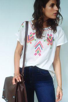 blusa bord. color {ref. 513498} calça jeans skinny {ref. 513372} bolsa couro {ref. 513637} kit anéis slim {ref. 513606}