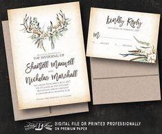 Rustic Wedding Invitation SET  Boho Vintage Feather Wedding