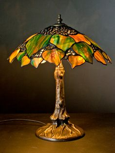 Stained glass Tiffany Big Maple Leaf lamp. Maple by WPworkshop