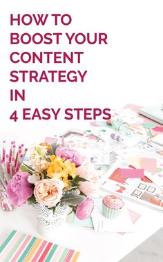 How to boost your content strategy in 4 easy steps - Michaela Hoffman Business Branding, Business Tips, Online Business, Content Marketing, Online Marketing, Virtual Assistant Jobs, Pinterest For Business, Online Entrepreneur, Web Design Inspiration