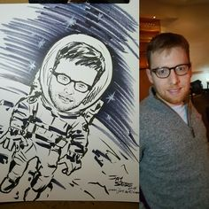 Astronaut portrait drawn at a corporate event