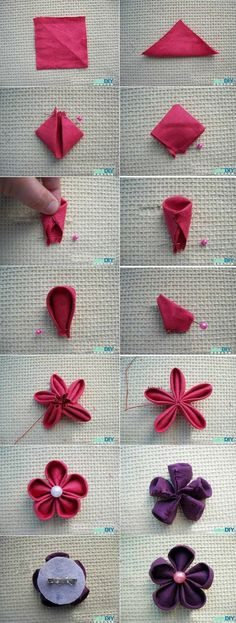 Fabric Flower  tutorial using squares- super easy.hand/machine stitch or use a glue gun