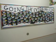 """""""Going The Extra Mile"""" Wall of Fame bulletin board with cars Social Studies Classroom, Classroom Themes, Car Themes, Travel Themes, Road Trip Theme, Reading Display, Around The World Theme, Reading Incentives, Teacher Doors"""