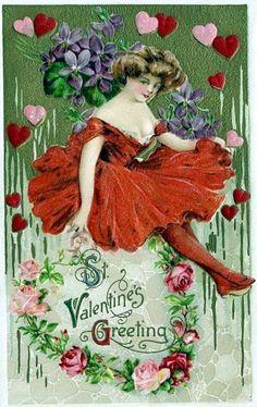 Valentine Gal  Vintage Image Valentine's Day Note Card Victorian Edwardian Love Note by RTFX on Etsy