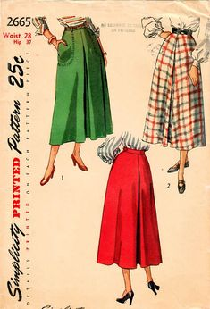 1940s Simplicity 2665 Vintage Sewing Pattern Misses Tea Length