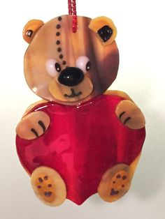 SUNCATCHER-ORNAMENT  Fused Glass Teddy Bear  by OstisInspirations