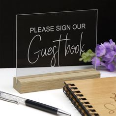 Clear Guest Book Sign - Acrylic with Timber Base - Engraved Wedding Table Decoration Guest Book Sign, Wedding Guest Book, Wedding Boxes, Wedding Table, Wishing Well, Groomsman Gifts, Personalized Wedding, Unique Weddings, Wedding Decorations