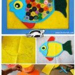 Felt crafts for kids Projects For Kids, Craft Projects, Crafts For Kids, Arts And Crafts, Ocean Crafts, Fish Crafts, Craft Activities, Preschool Crafts, Children Activities
