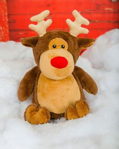 """Personalised Christmas Cubbies Stuffie Teddy Taupe Reindeer. These lovely Teddies stand apx 12"""" high and you can have a name or message or a design embroidered on the tummy. Please bear in mind that the embroidered area is 4"""" x 4"""" and the the letters will be sized accordingly, so the more letters you have, the smaller they become, to fit into the embroidery area.Please note that as the majority of our designs have to be reduced in size to fit into the embroidered area, it isn&#..."""