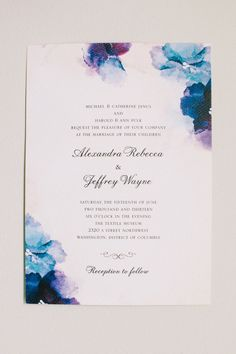 Watercolor Wedding Invitations by WeddingPaperDivas.com As Seen On #SMP here: http://www.StyleMePretty.com/2014/04/07/dc-garden-wedding-with-pops-of-color/ Katie Stoops Photography - katiestoops.com