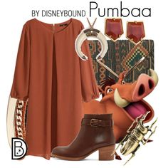 Pumbaa by leslieakay on Polyvore featuring H&M, A.P.C., GUESS, Lele Sadoughi, MARTI, disney, disneybound and disneycharacter