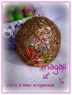 uova di spago e lana ripiene di ovetti di cioccolato - sinide magali