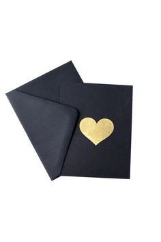 gold heart, black paper - maybe cardboard with red?