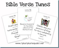Bible Verses A-Z set to familiar tunes...awesome goes with our current stuff