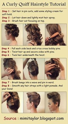 Curly Quiff Hairstyle Tutorial - contributed by a Contest Winner. For more great images and videos, visit:  http://sussle.org/t/Hairstyle