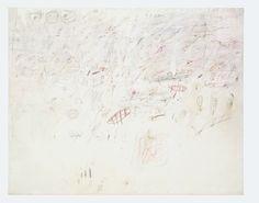 Cy Twombly, Untitled, 1959 (Roma). Öl, Wachskreide, Farbstift und Bleistift auf Leinwand, 160 x 200 cm. Daros Collection, Schweiz © Cy Twombly Foundation. Photo: Daros Collection, Schweiz.