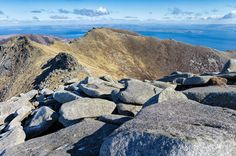 North Goatfell, Cioch na h Oighe, Bute, the Firth of Clyde, Cowal and the Ayrshire coast from Goatfell on the Isle of Arran. Image taken on a Leica camera. Glasgow, Edinburgh, Isle Of Arran, Highland Cattle, Picts, Scotland Travel, Leica, Outlander, Whisky